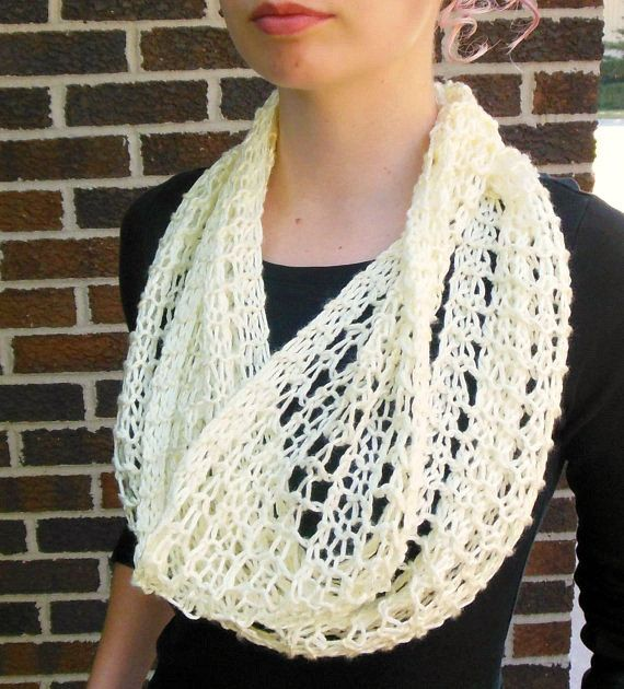 Cream Infinity Scarf Hand Knit Light Weight Lacy Open ...