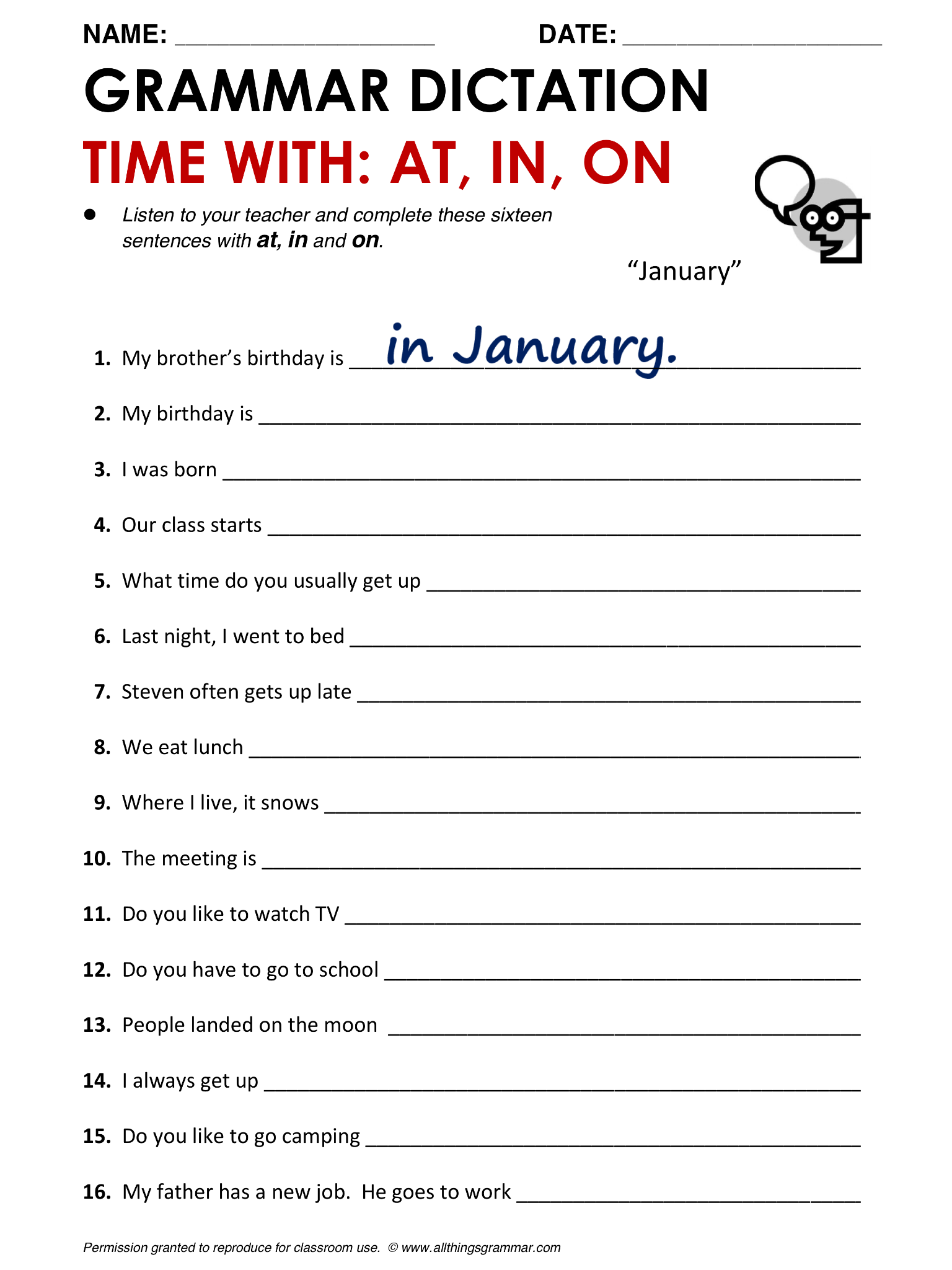 English Grammar Prepositions of Time at in on – Prepositions of Time Worksheet