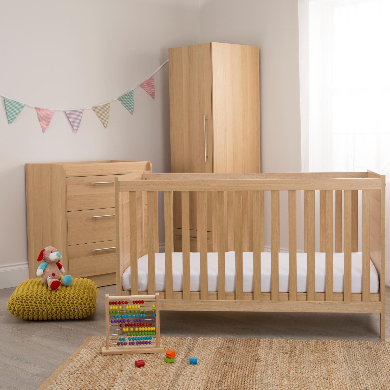 Kiddicare Trio Nursery Furniture Roomset Oak Baby