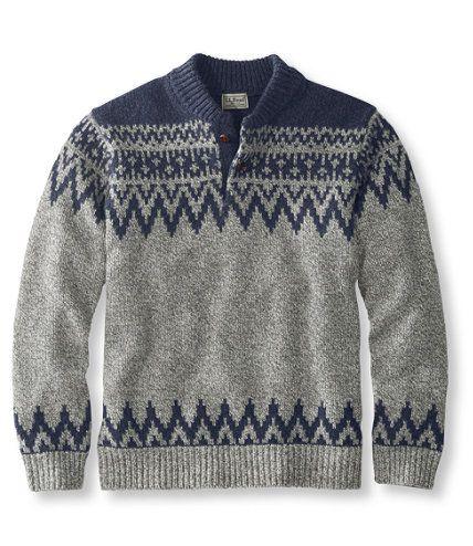 Men's Bean's Classic Raggwool Fair Isle Henley Sweater   Free ...