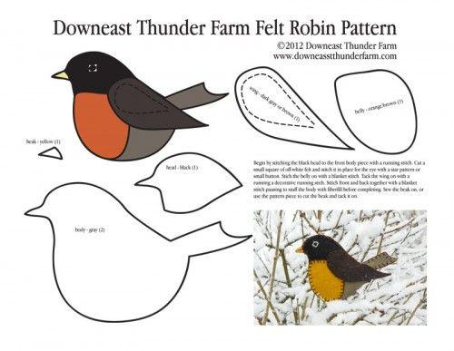 Longing for Spring Felt Robin Ornament #feltbirds