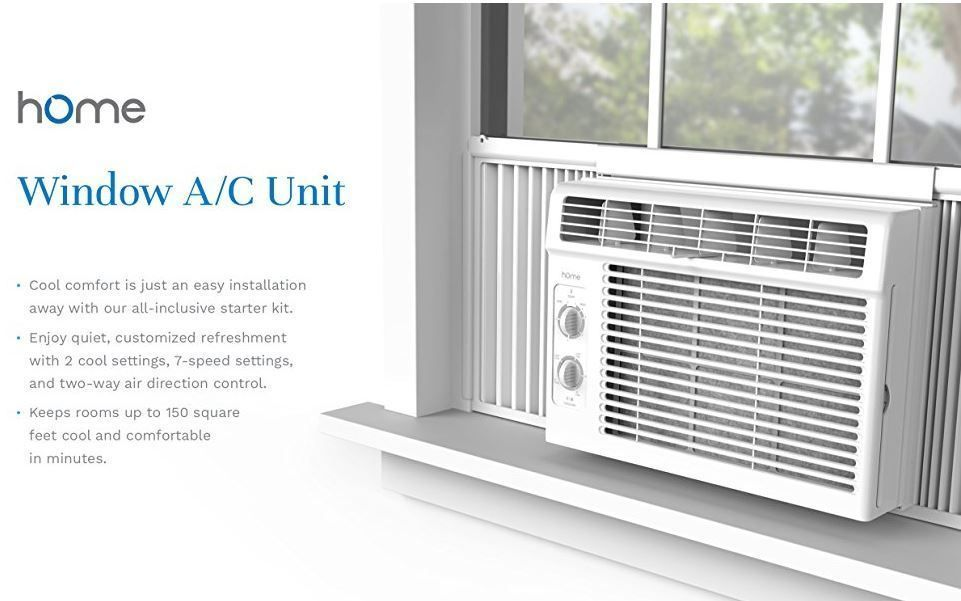 Window Air Conditioner Compact 7 Speed Home AC Unit 5000 BTU