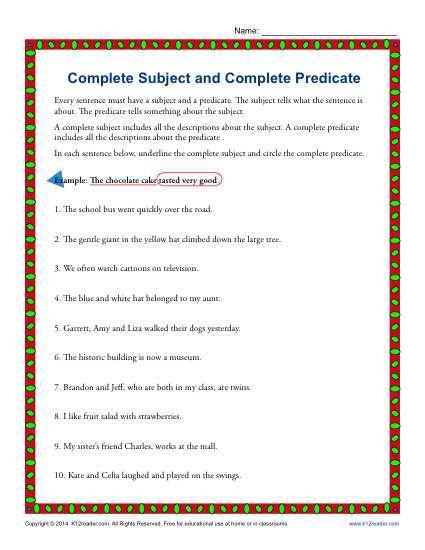Worksheetscom Subjects And Predicates | worksheet example