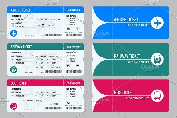 Set of tickets airplane, bus and train. Travel around the ...