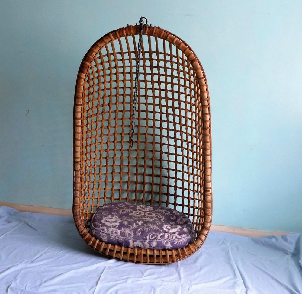 1960s Original Hanging Wicker Egg Chair in Home, Furniture ...