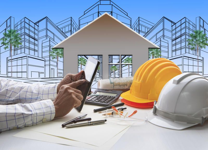 Hand Of Architect Working On Computer Tablet With Construction Stock Image – Image of home, management: 37906417