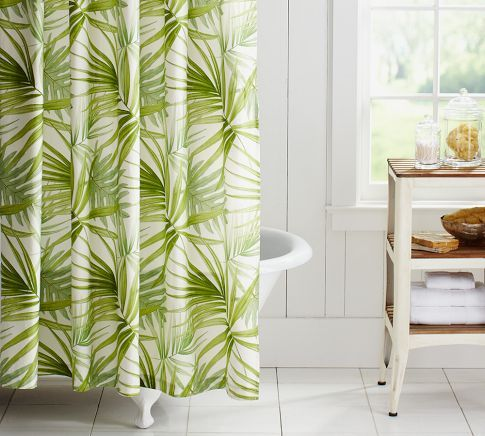 white bathroom and green shower curtain i love the pattern for the kitchen curtains maybe