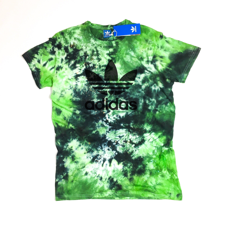 0858e2d28 Green Adidas tie dye | Customized adidas, custom adidas, Yoga, gym, tie  dye, galaxy, custom tshirt. T-shirt Mens, Womens, Authentic
