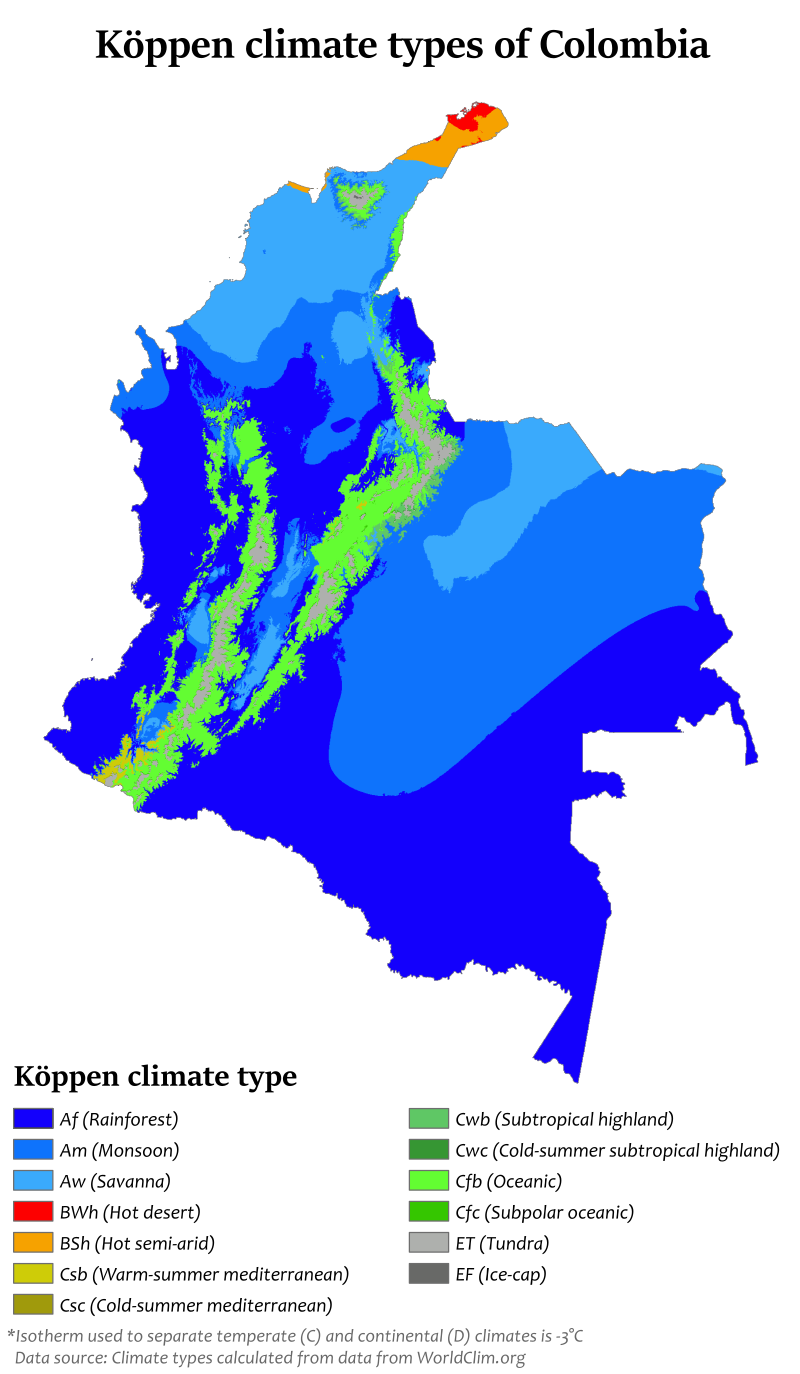 Colombia Köppen Climate of Colombia Wikipedia in 2020