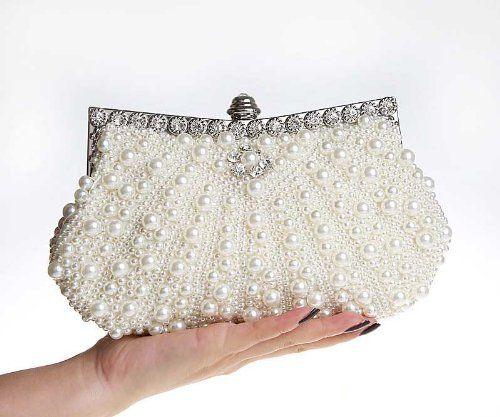 aa24437b89 KAXIDY Borsa Pochette con Perline Perle (Bianco): Amazon.it: Scarpe e borse