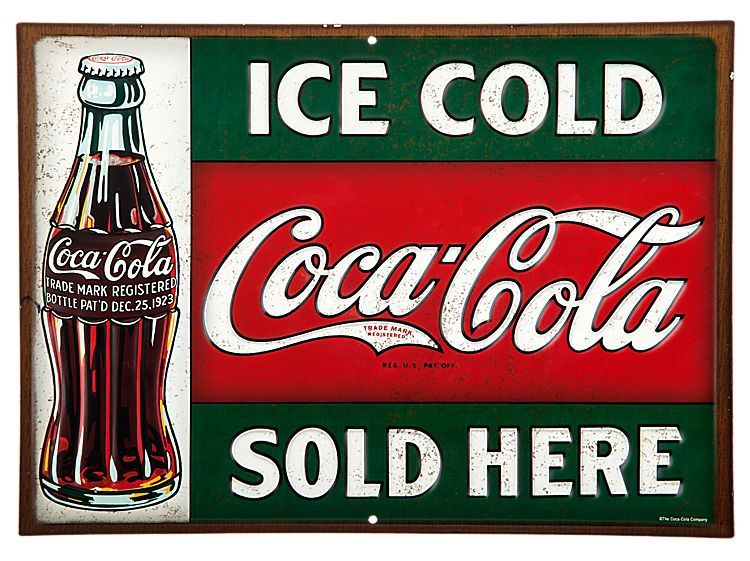 Vintage Style Reproduction Embossed Metal Coca Cola Highway Sign