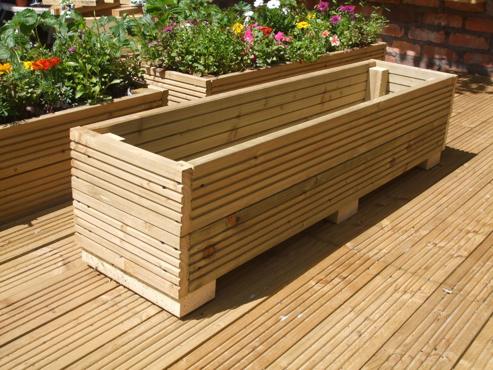 4ft Long Wooden Decking Planter Trough Window Box 122cm X 30cm 30cm