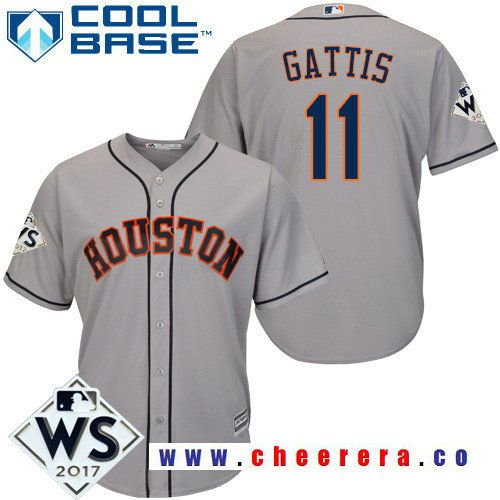 258f0675b0a Men s Houston Astros  11 Evan Gattis Gray Road 2017 World Series Patch  Majestic Cool Base MLB Jersey
