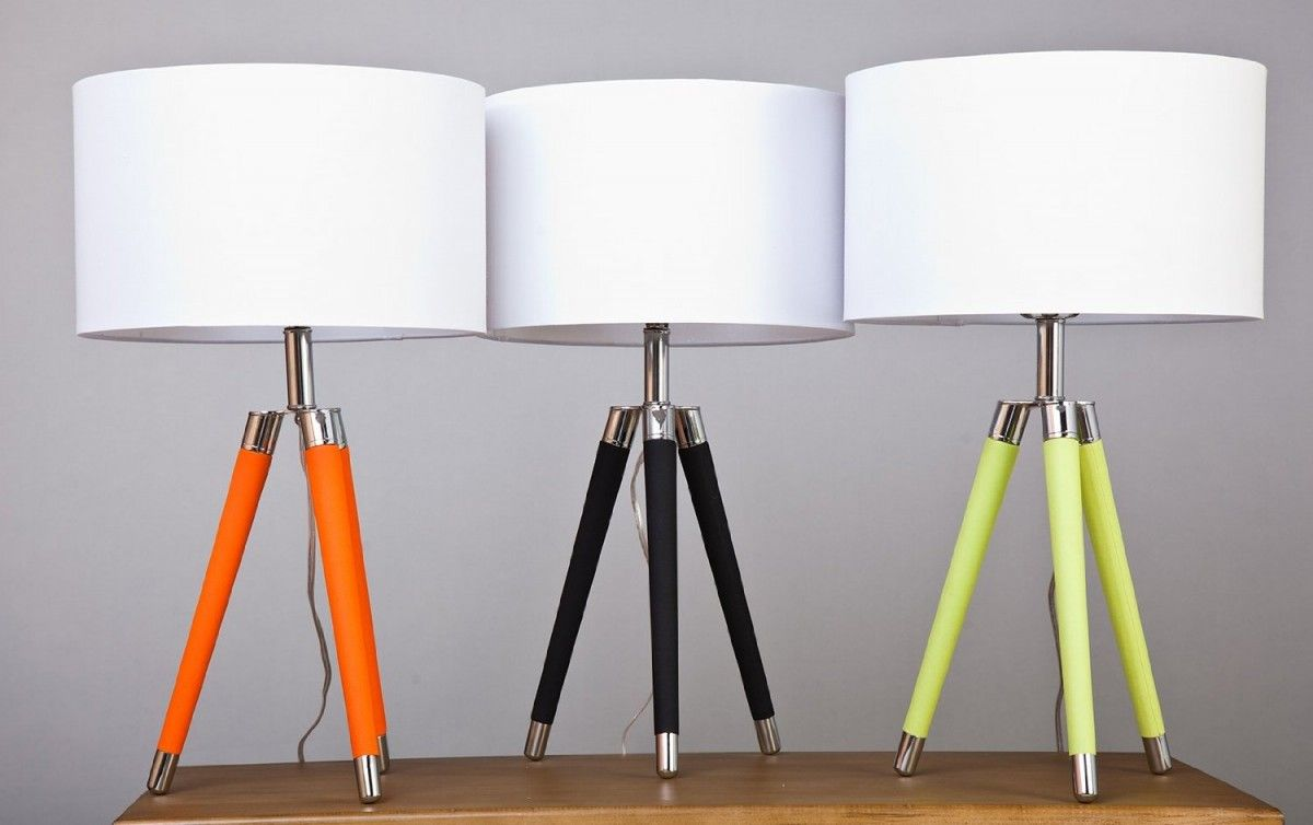 Mid Century Modern Tripod Leather U0026 Chrome Table Lamp With Drum Hardback  Shade