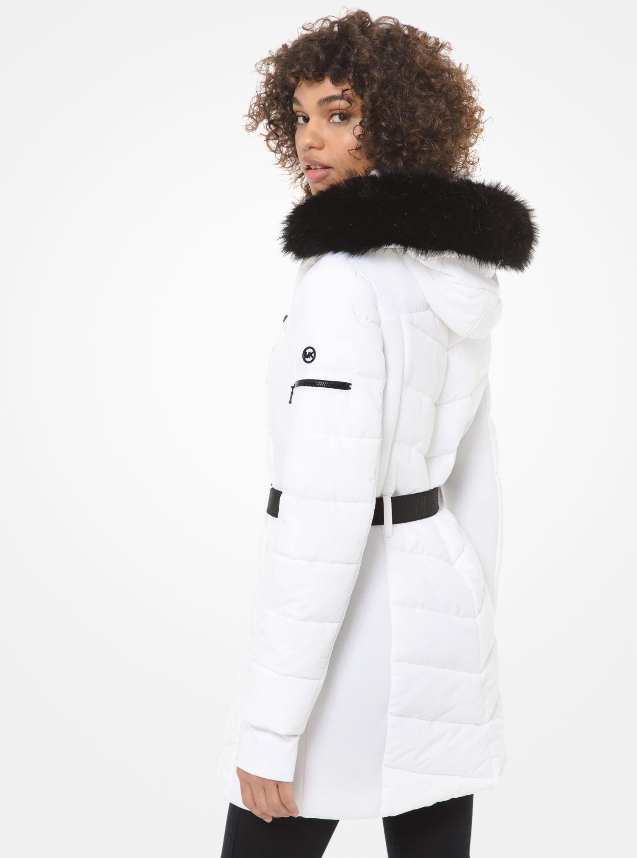 Faux Fur Trim Belted Parka Michael Kors Leather Jackets Women Michael Kors Outerwear Women [ 1750 x 1300 Pixel ]