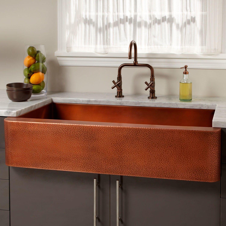 39 Vernon Hammered Copper Farmhouse Sink In 2020 Copper Farmhouse Sinks Farmhouse Sink Copper Kitchen Sink