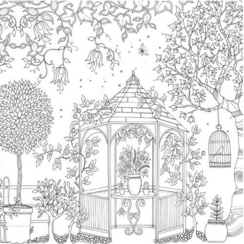 - Garden Gazebo Garden Coloring Pages, Secret Garden Coloring Book, Coloring  Pages For Grown Ups