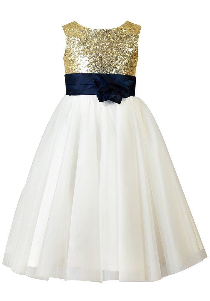 acad961dc63 Thstylee Girl s Sequin Tulle Flower Girl Dress Junior Bridesmaid Dress 8T  Gold