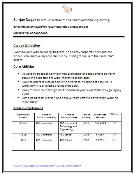 B Tech Fresher Resume Sample Download (1) | Career | Pinterest ...