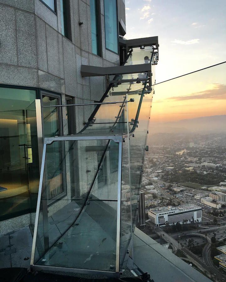 Thrilling Glass Slide At 1 000 Feet Above Los Angeles Opens To The Public California Travel Los Angeles Travel Travel Usa