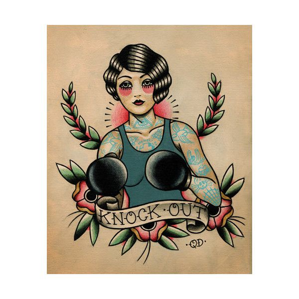 479a25f29 Boxer Flapper Girl Tattoo Art Print ($26) ❤ liked on Polyvore featuring  accessories