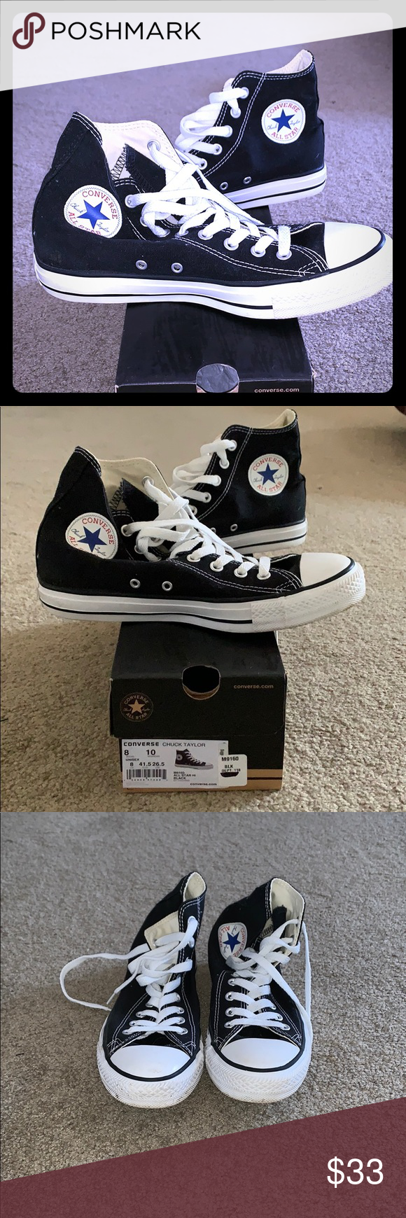 83f84457492b Converse sneakers Men s black high top converse sneakers. Worn twice! In  good condition.