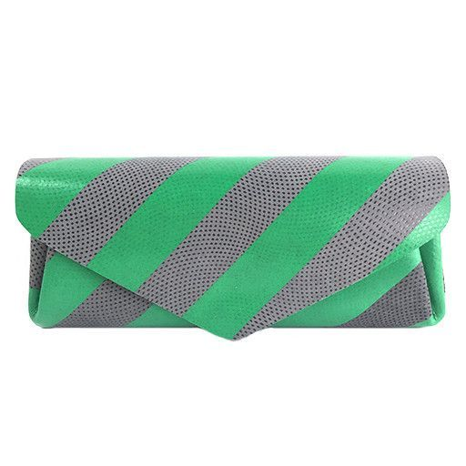 Carmine Long Wallet, Stripes: Green & Gray