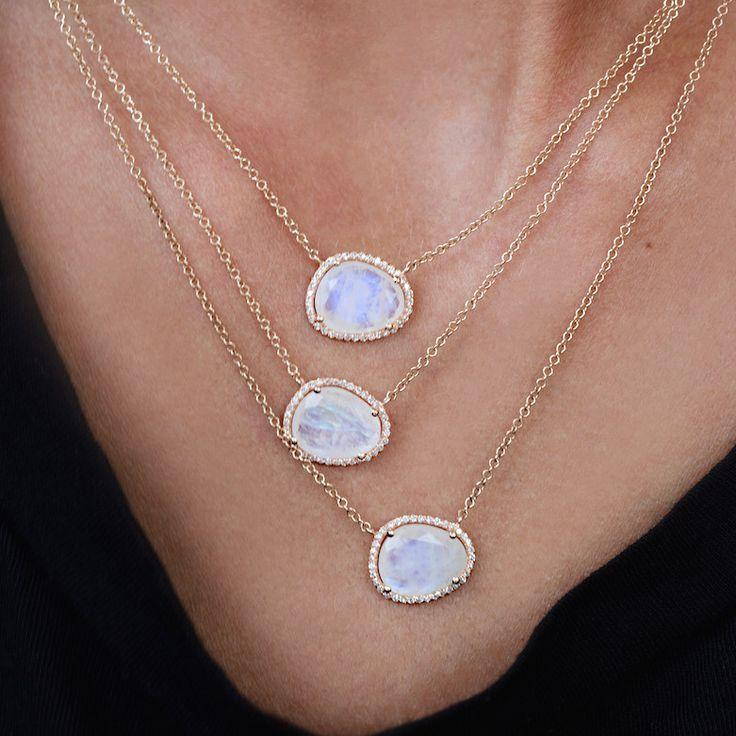Photo of fashion jewelry asymmetry stone moonstones gold color elegance stunning european women hot design delicate chain stone necklace