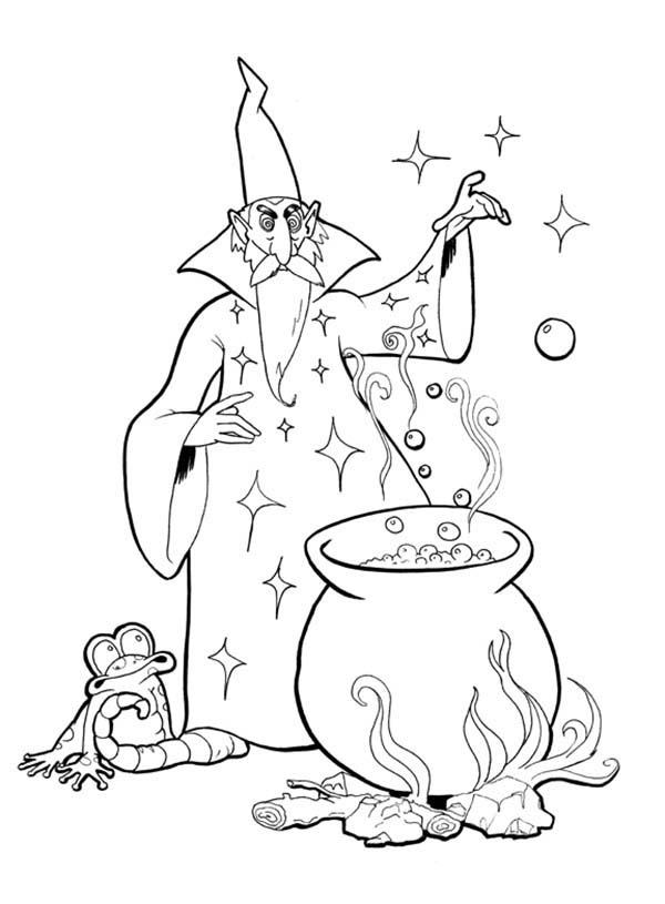 Merlin The Wizard Mixing A Lot Of Ingridients Coloring Pages Bulk Color Coloring Pages Merlin The Wizard Color