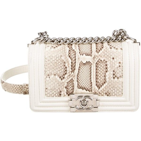 f684a5026b4f Pre-owned Chanel Python Small Boy Bag ($4,700) ❤ liked on Polyvore  featuring bags, handbags, neutrals, pre owned handbags, chanel bags, flap  handbags, ...