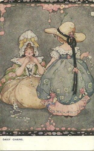 Ethel Larcombe Art Nouveau Girls Making Daisy Chains | eBay
