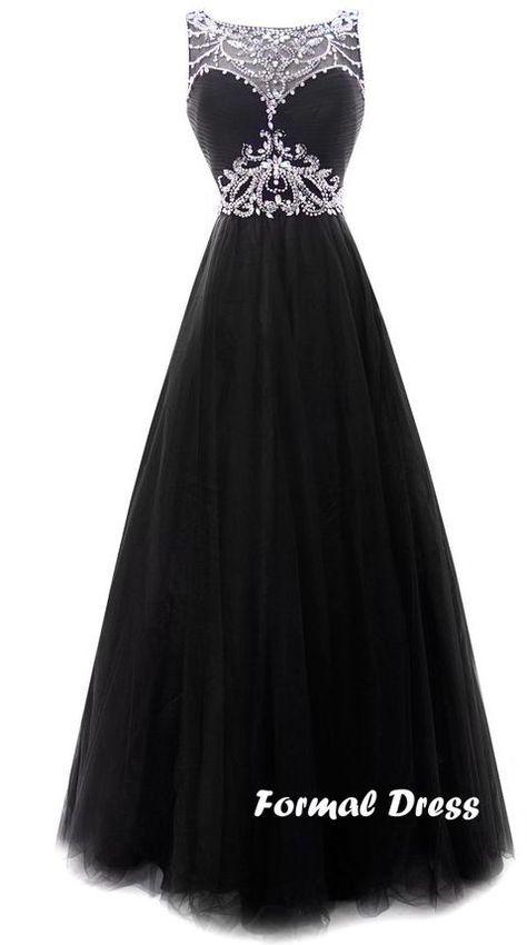 Black long prom dress, elegant a-line rhinestone chiffon graduation ...