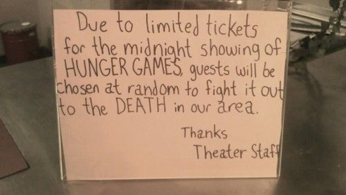 haha limited tickets to the hunger games