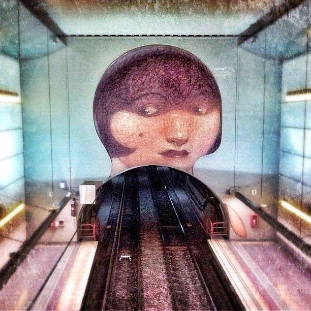 Estación Venezuela, línea H, subre/metro de Buenos Aires, Argentina. Dibujo de Carlos Nine.