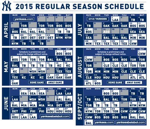 photograph relating to New York Yankees Printable Schedule named 2015 Fresh York Yankees -- printable routine my Yankees