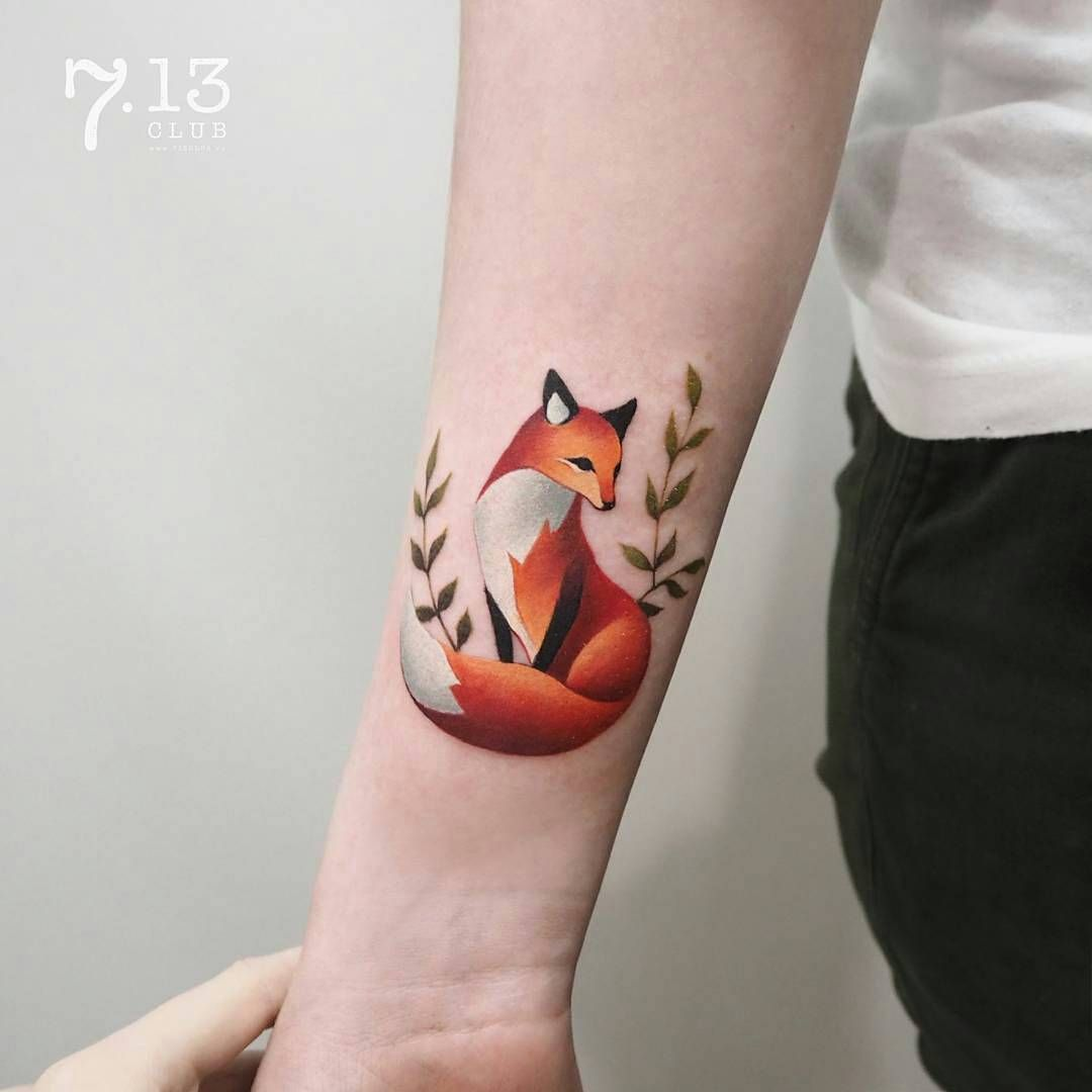 Fox Tattoo Small: Artist @coosomno Tyumen, Russia