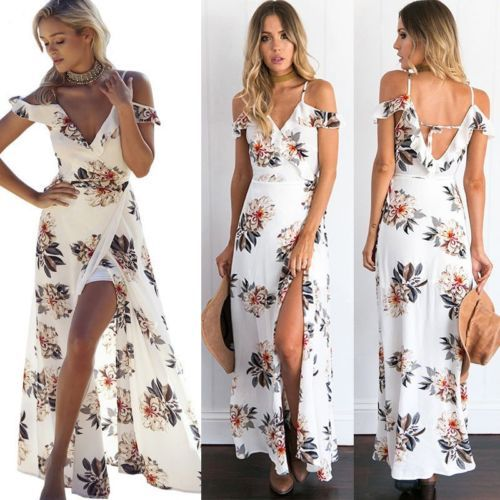 3da706b5b23b Women Summer Boho Long Maxi Dress Evening Cocktail Party Beach Dresses  Sundress