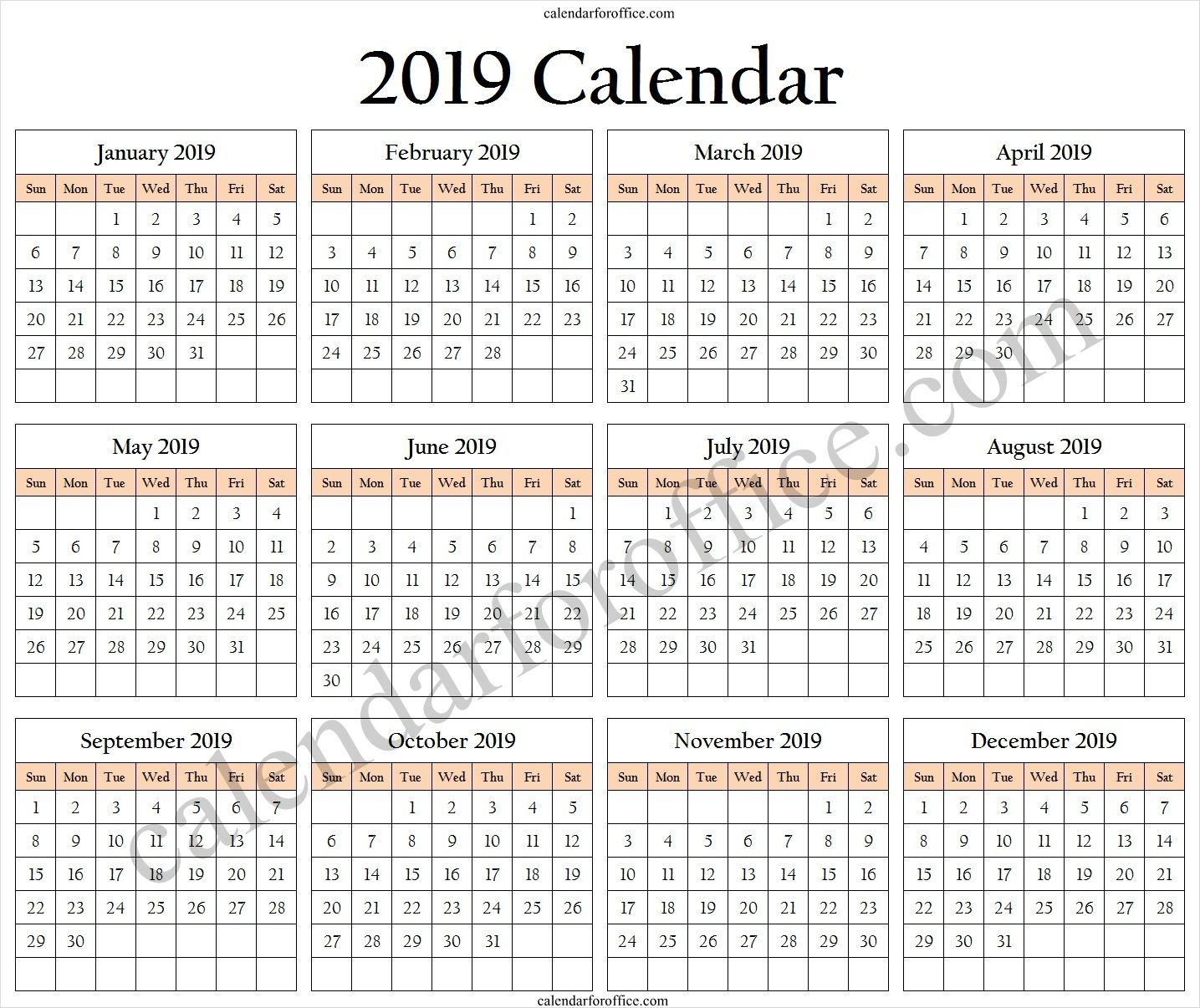 2019 One Page Calendar Holidays 2019 Free Calendar To Print