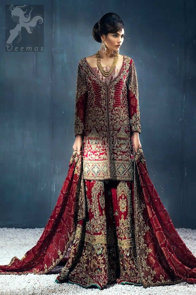 b7dafc0327 Latest Bridal Wear Deep Red Heavy Embroidered Shirt with Sharara and Dupatta