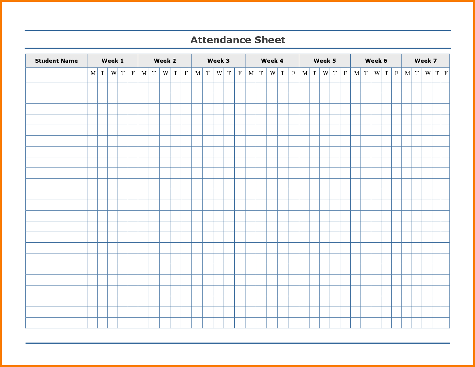 Printable Attendance Tracker | Attendance sheet template ...