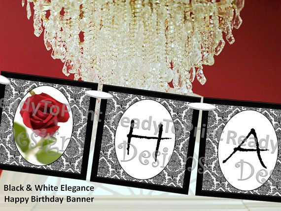 Damask Happy Birthday Banner Black and White Elegance with Red