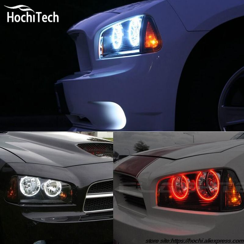 For Dodge Charger Rgb Led Headlight Halo Angel Eyes Kit Car Styling Accessories 2005 2006 2007 2008 2009 2010 Dodge Charger Kit Cars Car Lights
