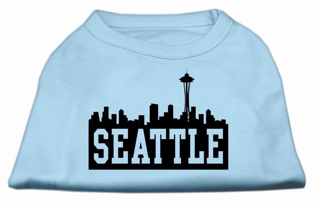 Seattle Skyline Screen Print Shirt Baby Blue Sm (10)