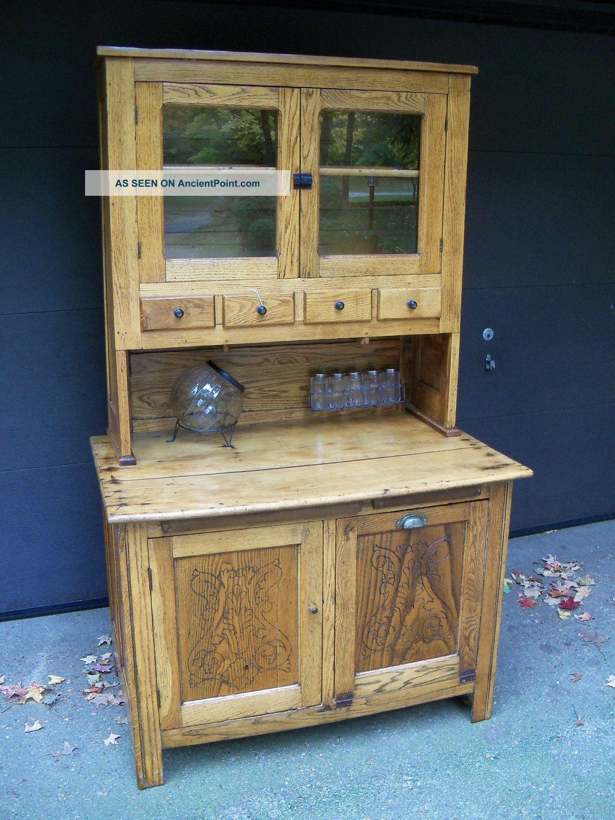 Primitive Kitchen Cabinet Pre Hoosier Style Oak Pine 1800 1899 Photo
