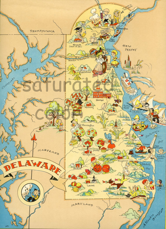 Delaware Map Original 1930s Antique Picture By Saturatedcolor