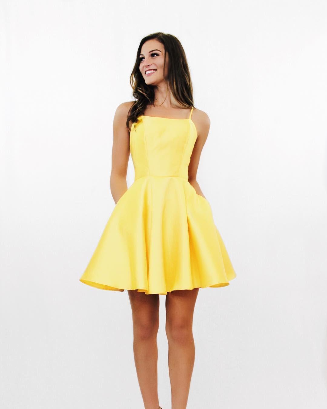 Yellow Spaghetti Strap Homecoming Dress Simple Short Satin Homecoming Yellow Homecoming Dresses Short Red Prom Dresses Prom Dresses Yellow [ 1350 x 1080 Pixel ]