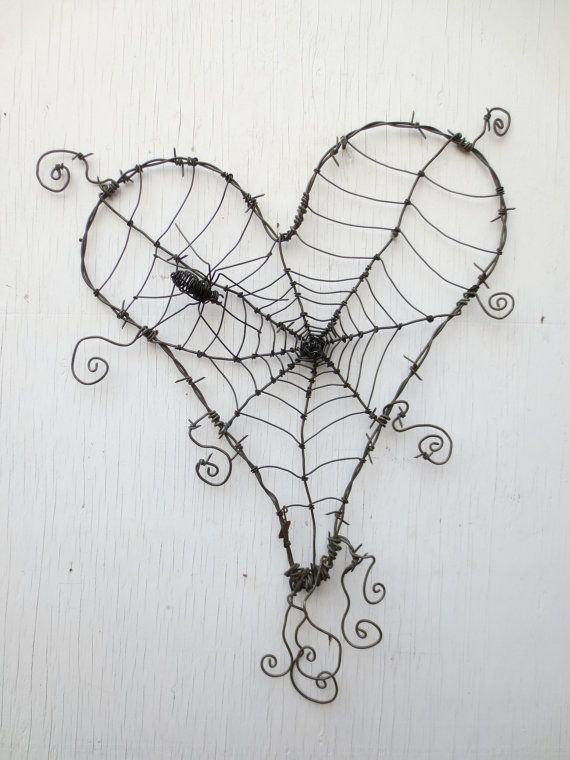 Custom Order Pair of Wonky Barbed Wire Heart Spider Webs | Spider ...