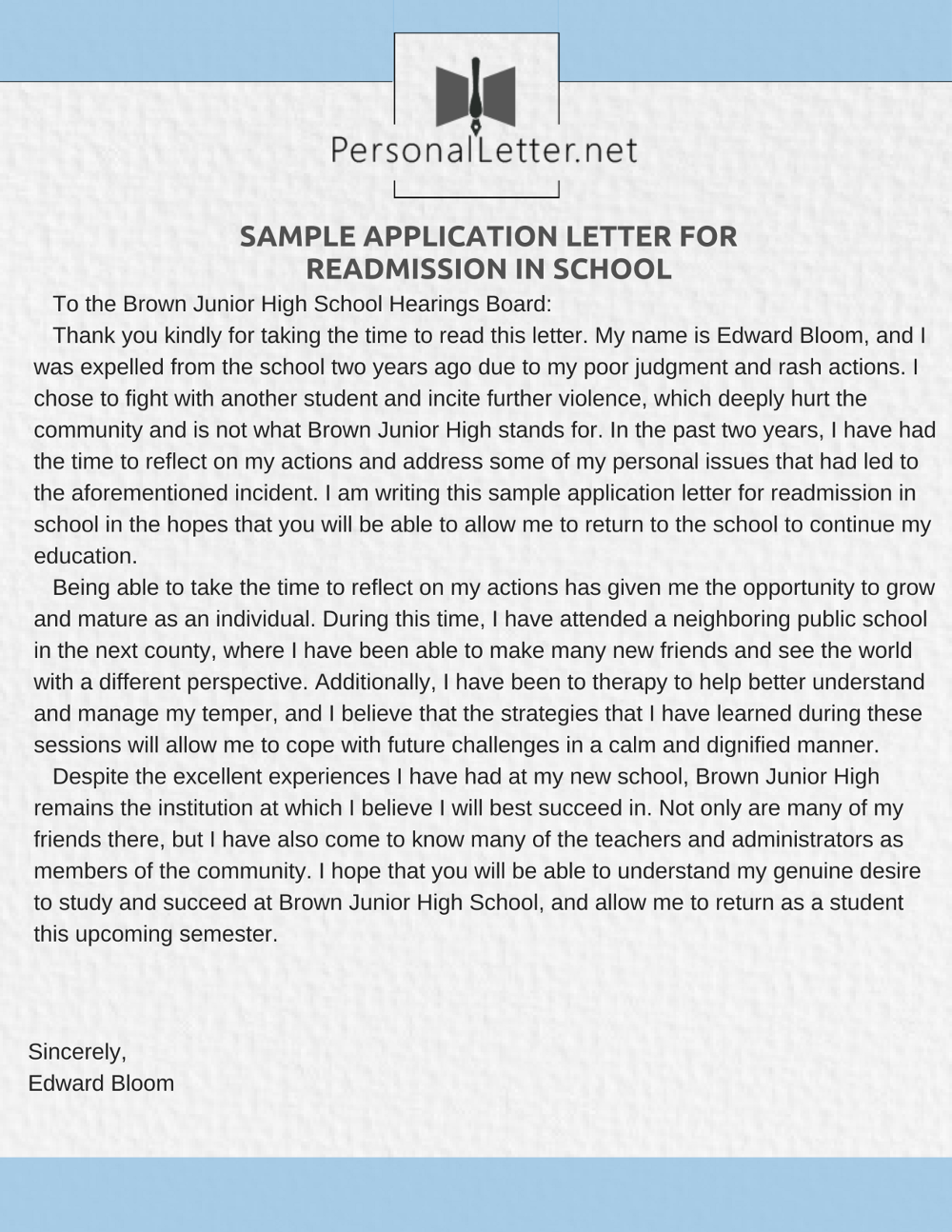 Sample Application Letter For Readmission In School  Application