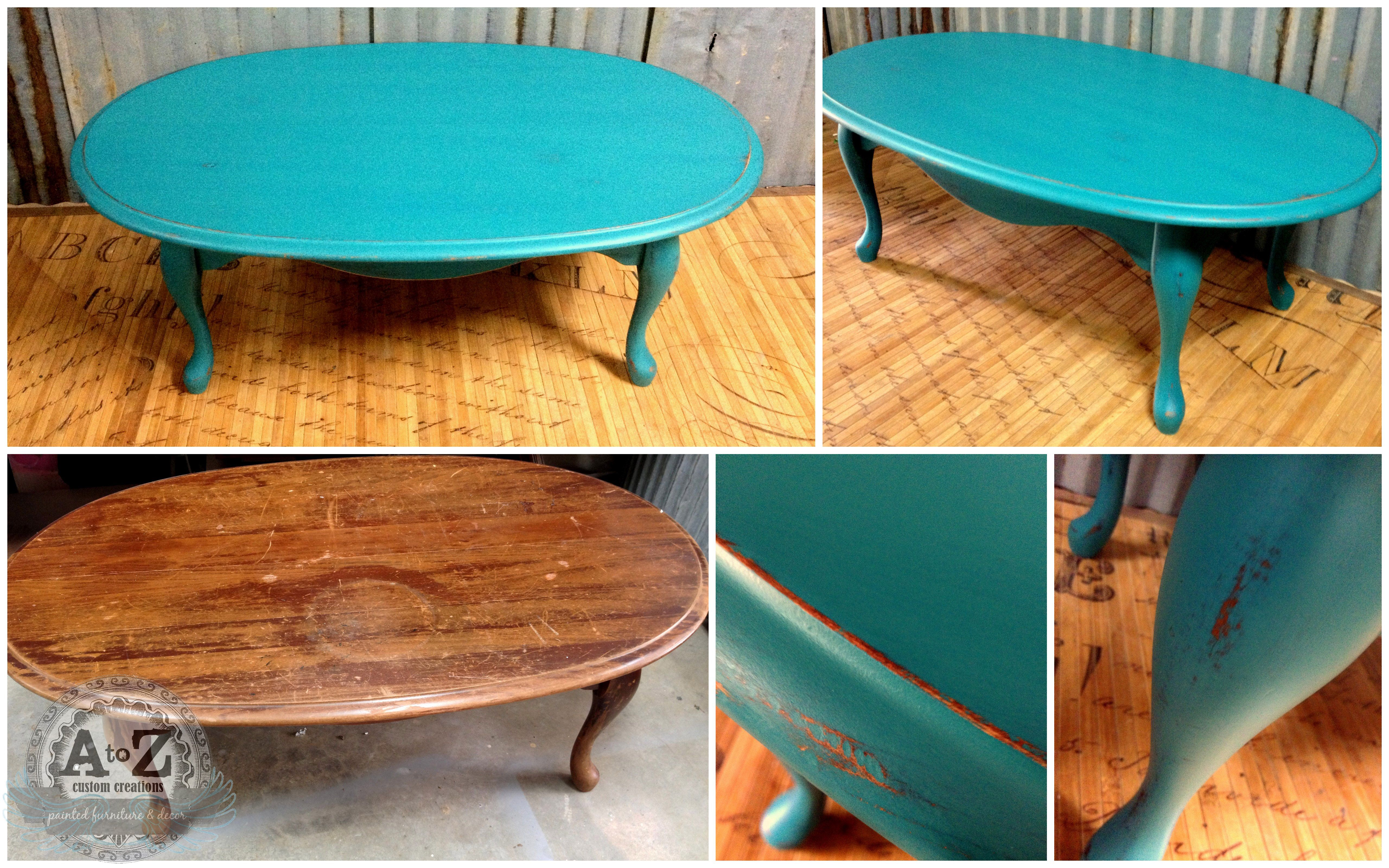Refreshed coffee table by a to z custom creations for Teal coffee table