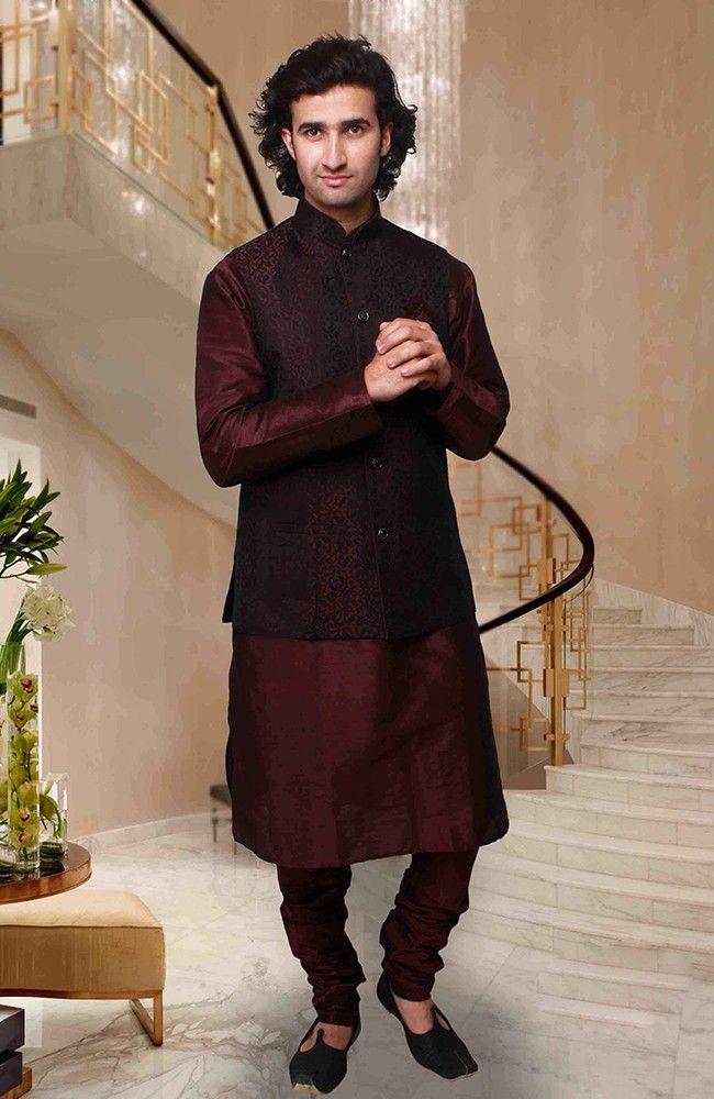 Outstanding Maroon Kurta Pyjama Set With Jacket Mens Fashion